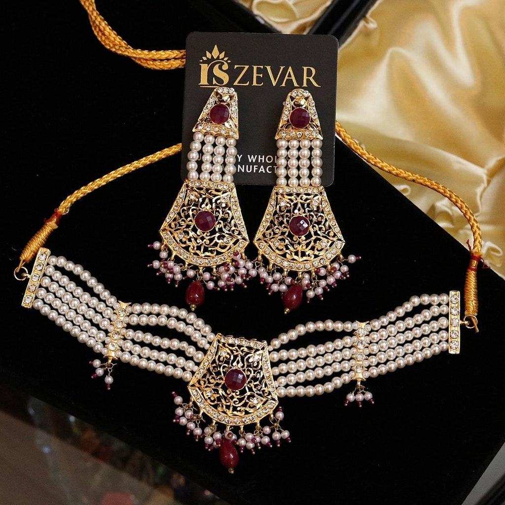 N2001 Stylish Pearl Choker Set - RS ZEVARS