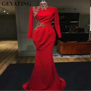 0cf6d09640 2019 Elegant Red Muslim Evening Dresses Long Sleeve High Neck Gold Beaded  Arabic Women Long Mermaid Formal Prom Dresses Dubai