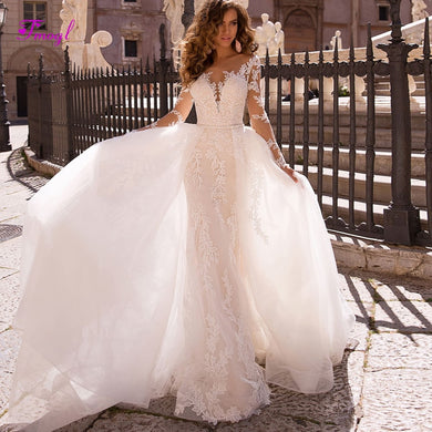 37171f7c6766 Appliques Long Sleeves Detachable Train Mermaid Wedding Dresses 2019 Luxury  Beaded Sashes Trumpet Bridal Gown Vestido