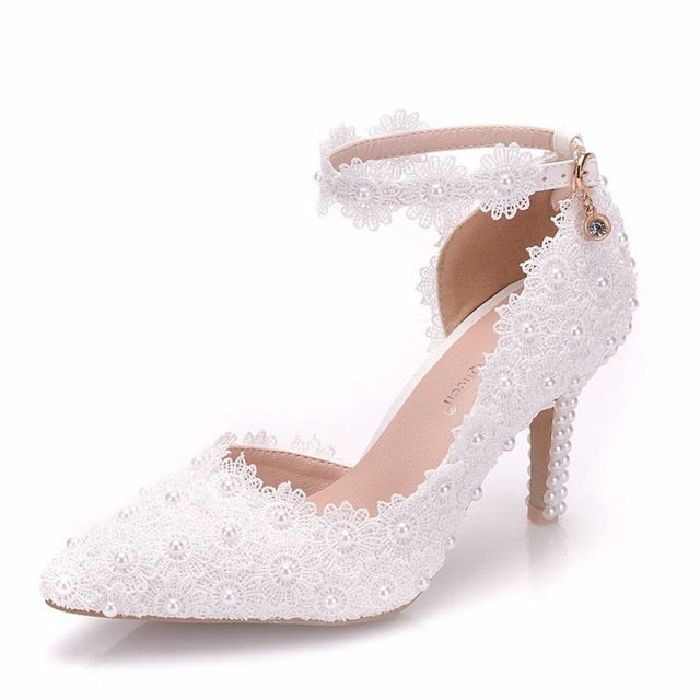 Crystal Queen White Lace Flower Wedding Shoes Slip On Pointed Toe