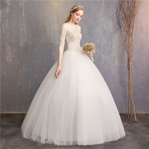 9150014fe8 Vestido De Noiva VLNUO NISA Elegant Wedding Dress Boat Neck Backless Lace  Applique Puffy Ball Gown Bridal Dress Robe De Mariee