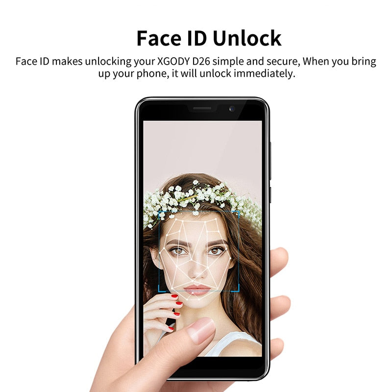 XGODY D26 5 5 Inch 3G Unlock Smartphone Android 8 1 Oreo MT6580M Quad Core  1G+8G Face ID Unlock Bluetooth Mobile Phone Cellphone