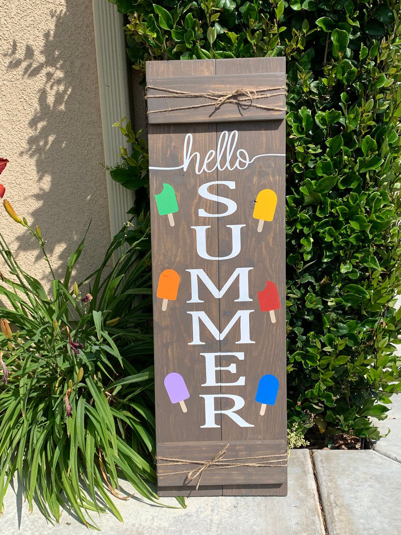 Hello Summer Front Porch sign sign: 6/13