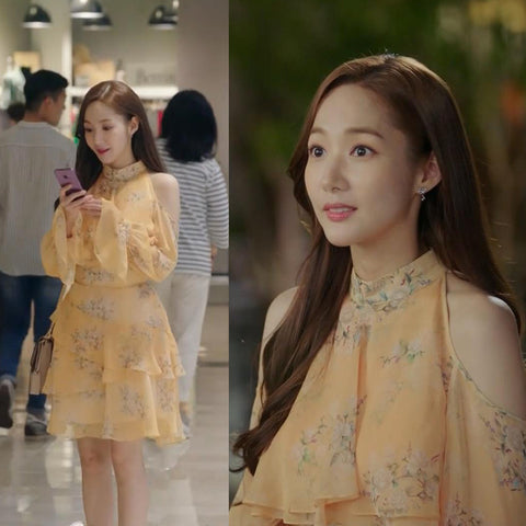 "Off-shoulder Frill Dress which Park Min Young wear in ""What's wrong with secretary Kim"" Film"