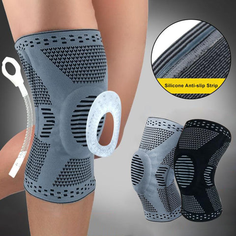 Silicone Spring Kneepad Meniscus Leg Cover Best Knee Brace with Side Stabilizers Patella Gel Pads for Knee Support