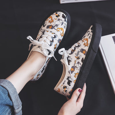 Canvas Shoes Women Cute Kitty Girls Trainers 2019 Spring New Flat Heel Preppy Style Lady Sneakers Vulcanized Casual Shoes 35-40