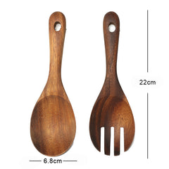 Wooden Spoon Fork Set Big Rice Scoop Dinner Serving Spoon Salad Spoon Wood Cutlery