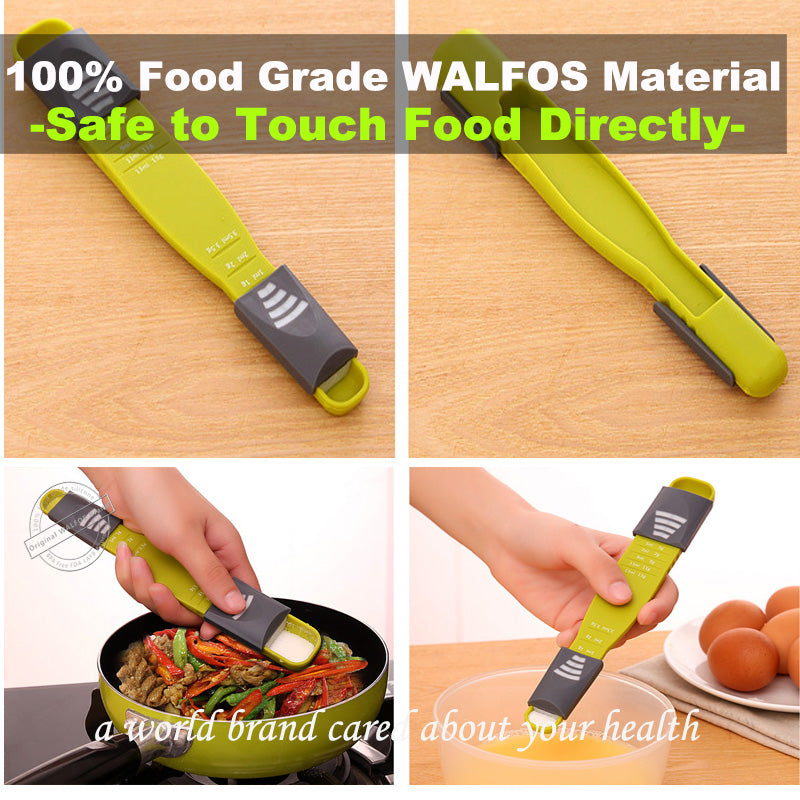 WALFOS measure cup Double End Eight Stalls Adjustable Scale Measuring Spoons Metering Spoon baking tool Kitchen accessories