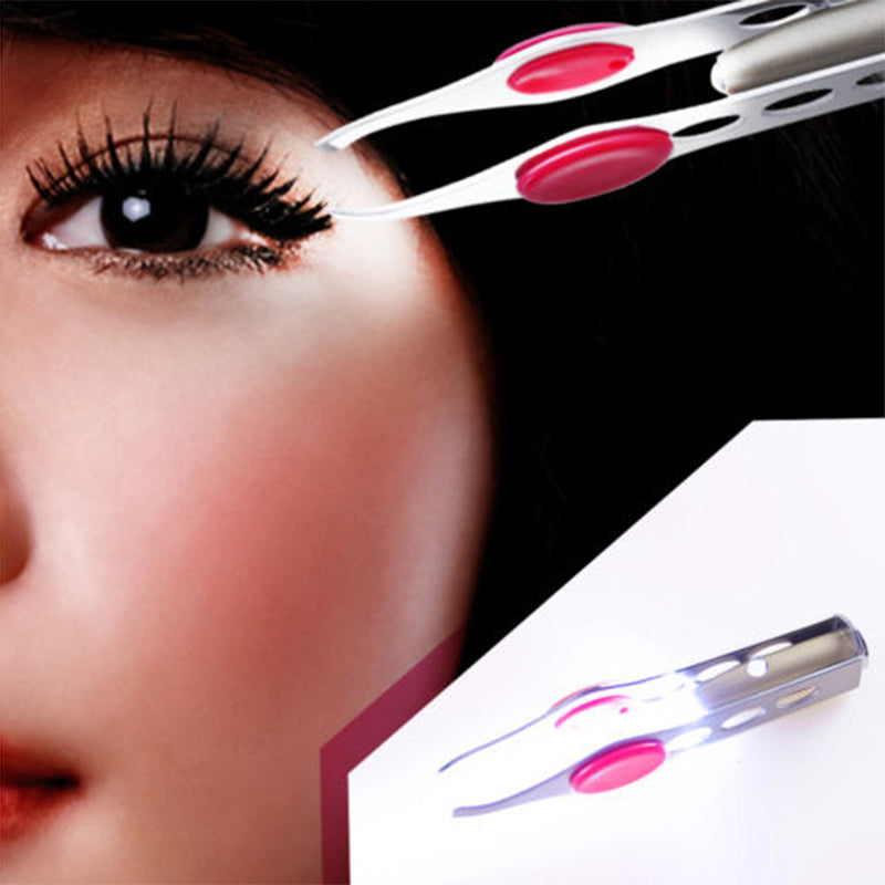 New Arrival Make Up Tools LED Light Eyelash Eyebrow Hair Removal Tweezer Face