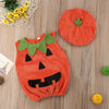 Image of 0-3Y Newly Cosplay Halloween Toddler Baby Kid Pumpkin Print Sleeveless Romper Jumpsuits Tops+Hats Baby Clothes 2PCS Costumes