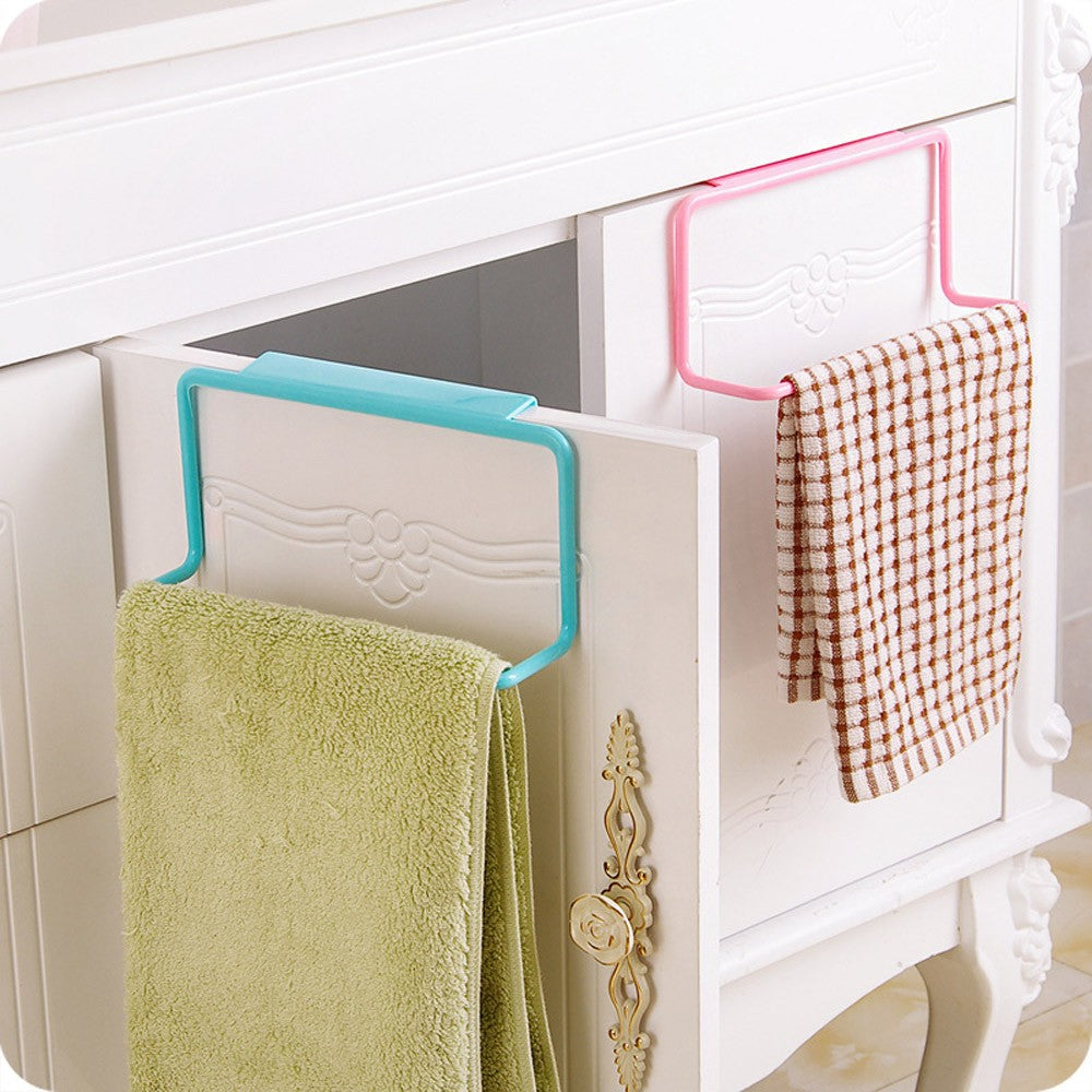 Towel Rack Hanging Holder Organizer Bathroom Kitchen Cabinet Cupboard Hanger Towel Sponge Holder Storage Rack for Bathroom