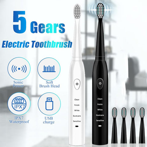 Powerful Ultrasonic Sonic Electric Toothbrush USB Charge Rechargeable Tooth