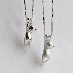 Cute Silver Cat Pendant Necklace Trendy Tiny Cat
