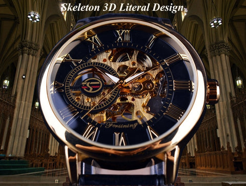 Design Hollow Engraving Black Gold Mechanical Watches