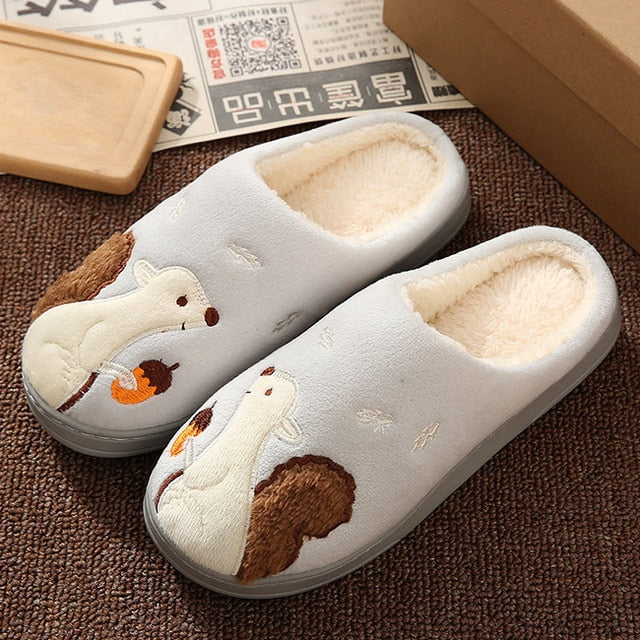 Women Slippers 3D Embroidery Cat Winter Warm Plush Shoes Women Home Slippers Indoor/Outdoor House Fur Couples Lovers Memory form