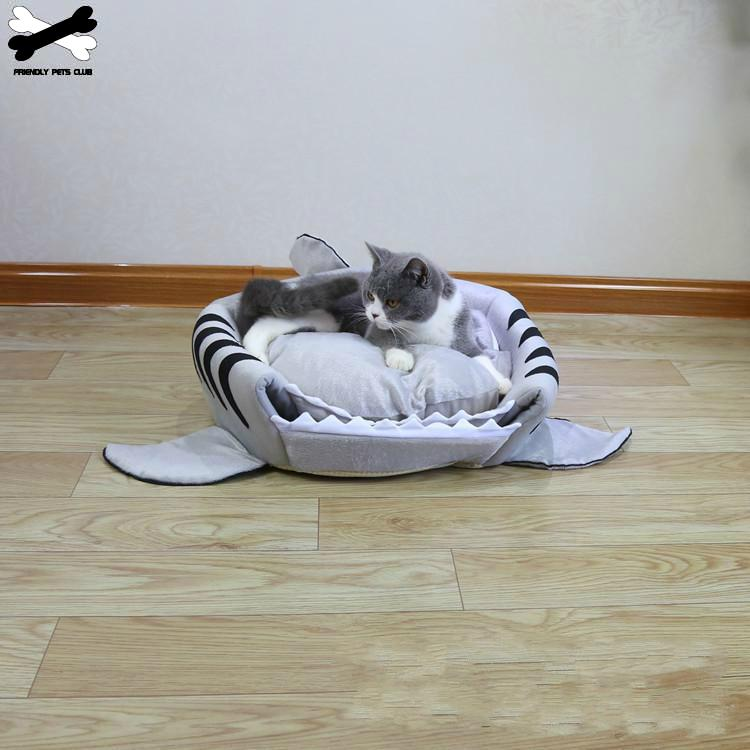 Shark Pet Bed Warm Pet Products Soft Cartoon House