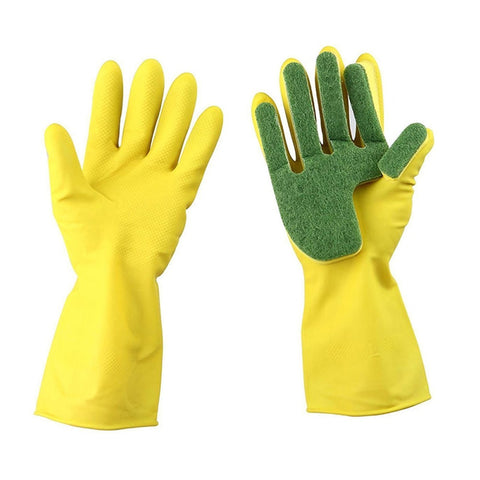1 Pair Reusable Household Cleaning Glove Kitchen Dish Washing Gloves Fingers With Scouring Pad Sponge Dishwashing Rubber Gloves