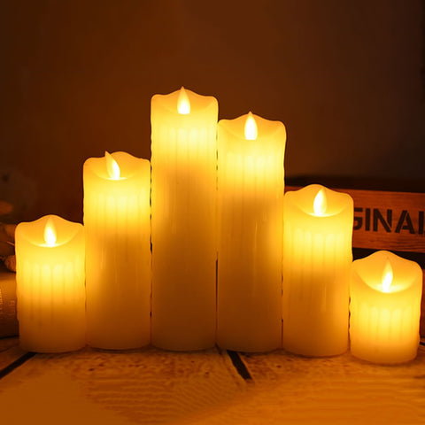 Tear dripping dancing flame led wax candle light, party