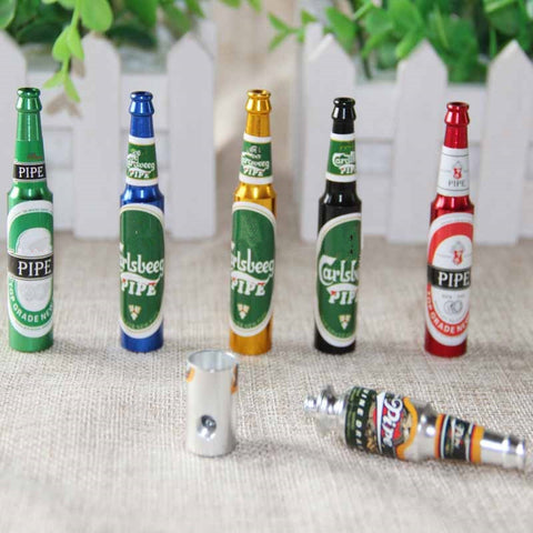 Mini Beer Smoke Metal Pipes Portable Creative Smoking Pipe Herb Tobacco Pipes Gifts narguile Grinder Smoke 6 colors Pipes