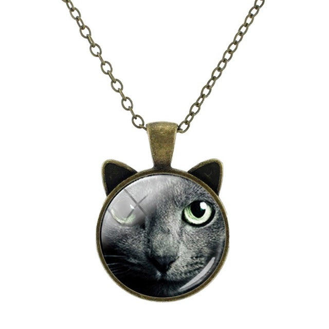 Vintage Bronze Cat Necklace