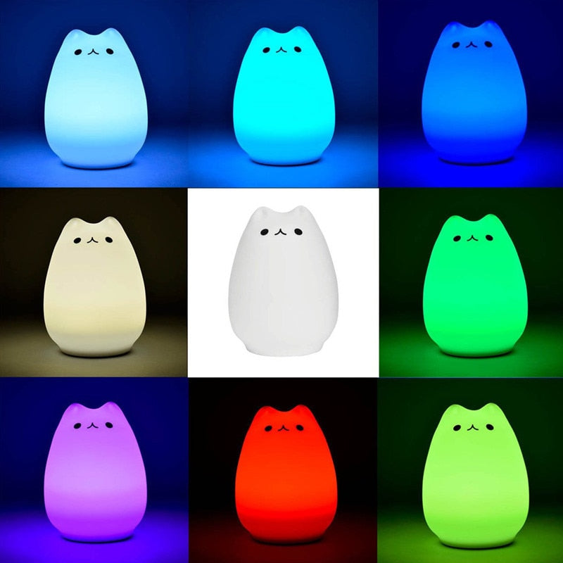 Cute Cat Silicone Baby Led Light