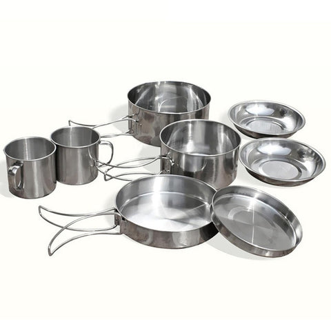 Practical Boutique 8Pcs/set Stainless Steel Outdoor Picnic Pot Pan Kit Camping Hiking Cookware