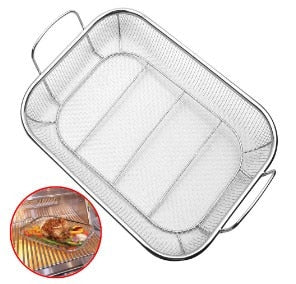 BBQ Grill Mesh Stainless Steel Silver Roasting Pan with Grilling Claws Meat Tray barbecue Basket
