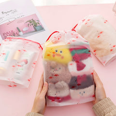 Transparent Travel Toiletry Cosmetic Bag Organiser Flamingos Organizer Storage Pouch Drawstring Bag