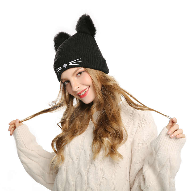 WOMEN'S WINTER WHISKERS BEANIE WITH CAT EARS