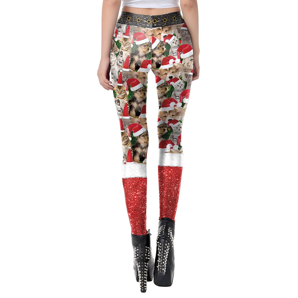 CHRISTMAS HAT CAT PRINT LEGGINGS