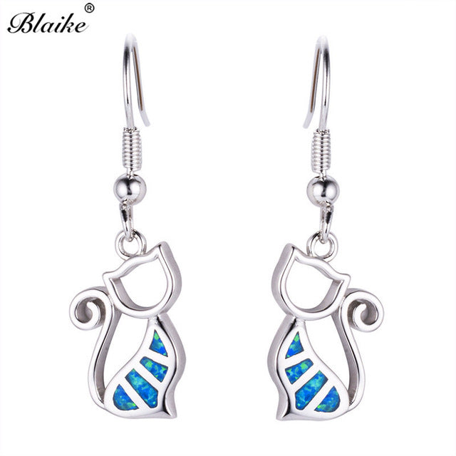 Blue Cat Sterling Silver Filled Fire Opal Earrings