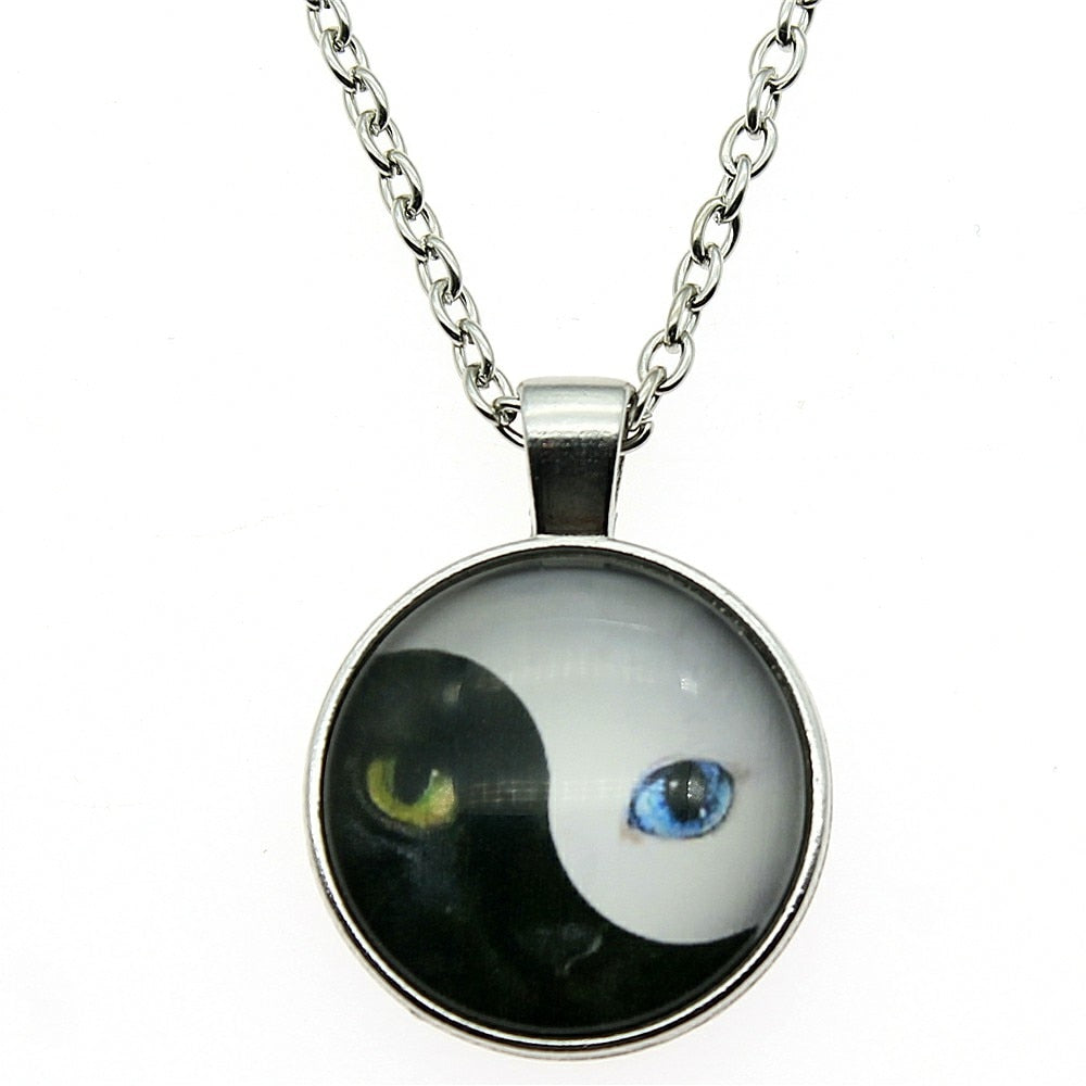 BLACK AND WHITE CATS YING YANG PENDANT