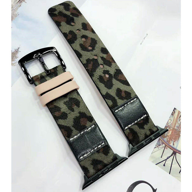 Leopard Printed Genuine Leather Watch Band For Apple Watch