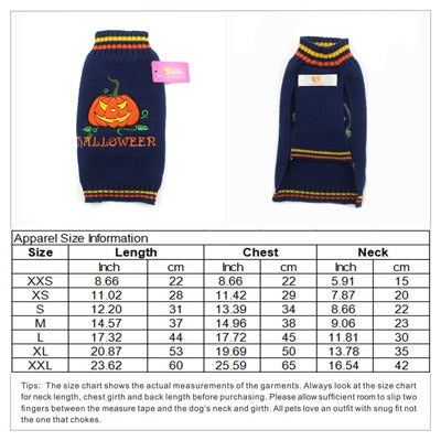 Dog Sweater Halloween Pullover Turtleneck Knit Winter Pet Pumpkin Dogs Clothes