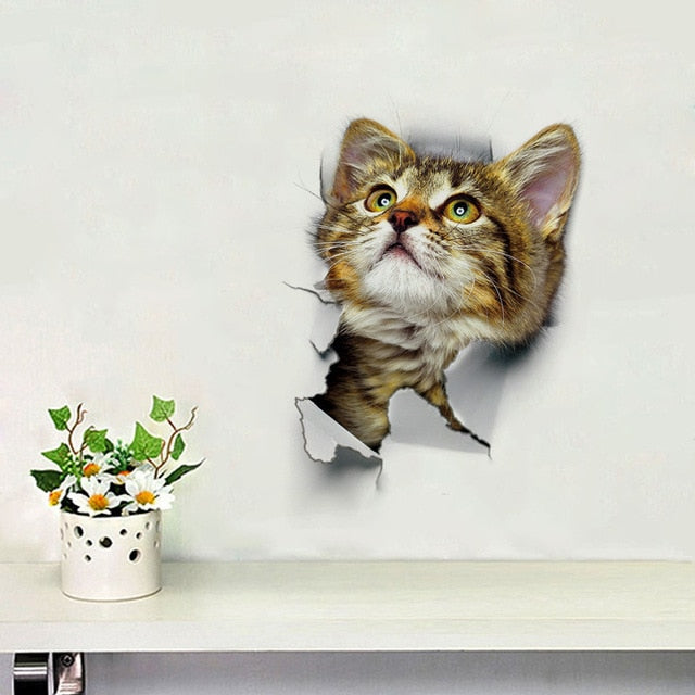 Vinyl Cat Wall Sticker With Cat Tearing Through