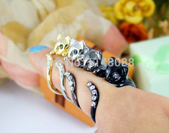 Crystals Adjustable Free Size Wrap Ring