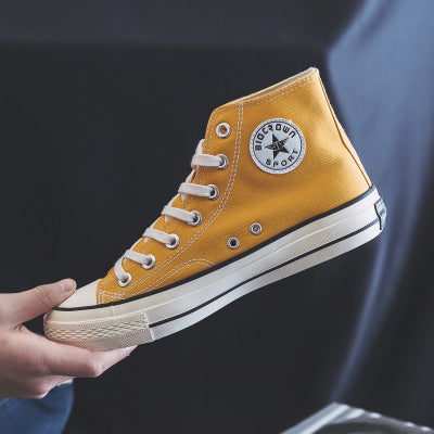 Man Canvas Shoes Skateboard Shoes Solid Color All Match Classic Design Male Sneakers High Top Sneakers Indigo Yellow Trainers