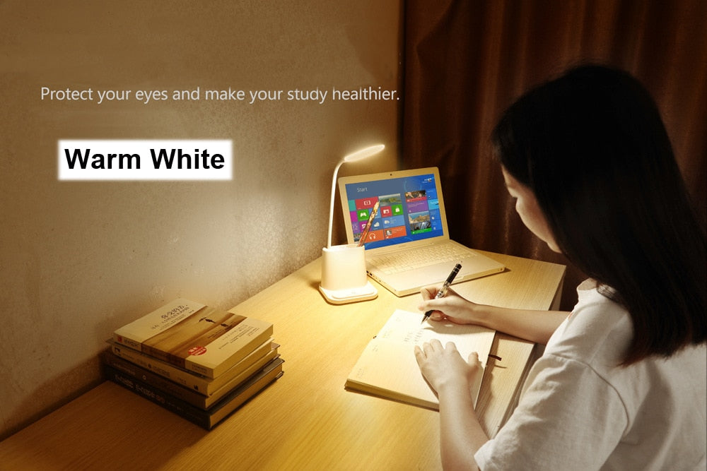 LED Desk Lamp USB Rechargeable Touch Dimming Adjustment Table Lamp for Children Kids Reading Study Bedside Living Room Bedroom