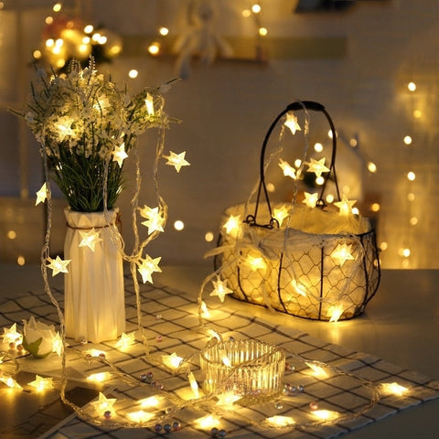 Decor Warm White Colorful 20LED Indoor Decor String Star Fairy Lights