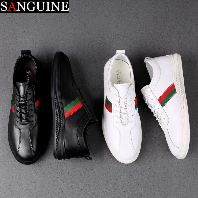 Sanguine 2019 New Men Plus Size Casual Cow Genuine Leather Flats Soft Shoes Lace Up Fashion Male Shoes Comfortable High Quality