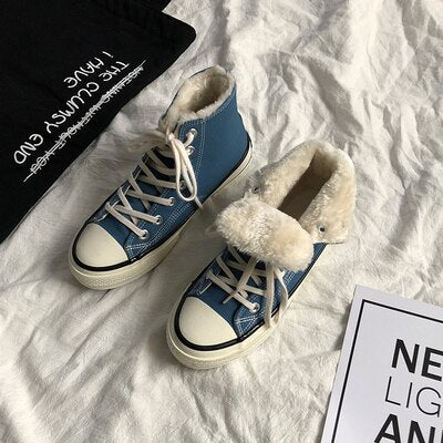 Winter Fur Shoes Unisex Lovers Sneakers Classic Style Short Plush Lining Solid Color Flat Heel Lace Up Ankle High Warm Shoes