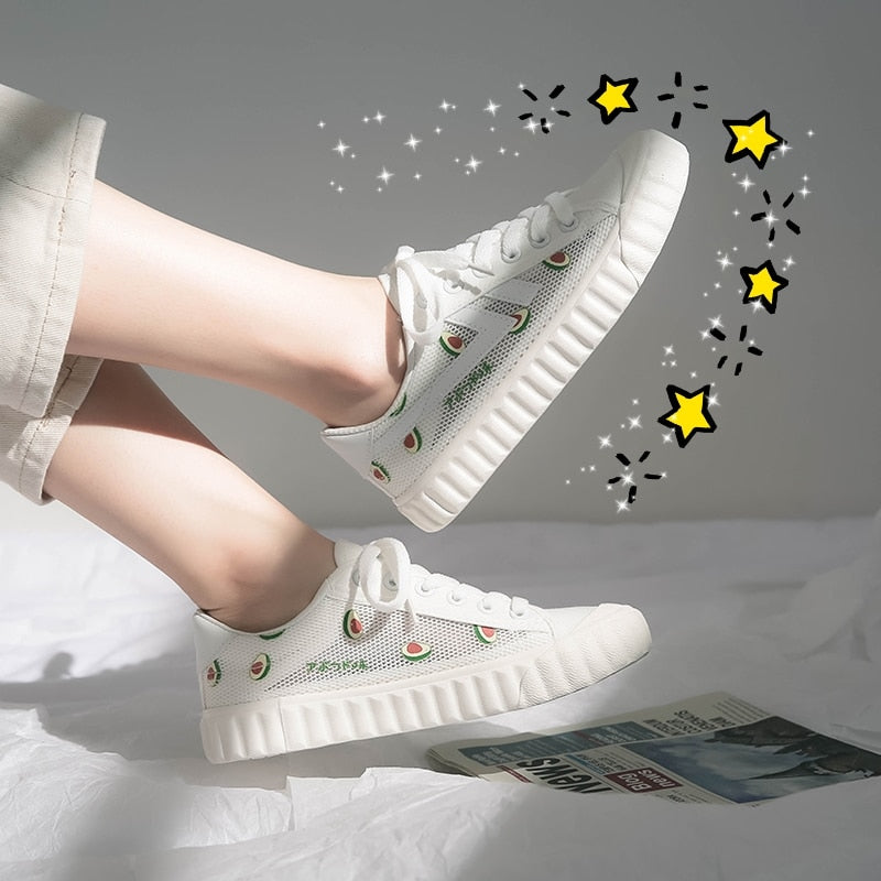Breathable White Shoes Female 2020 New Summer Girls Women's Shoes Mesh Trendy Sneakers Peach Watermelon Avocado Pineapple Lacing