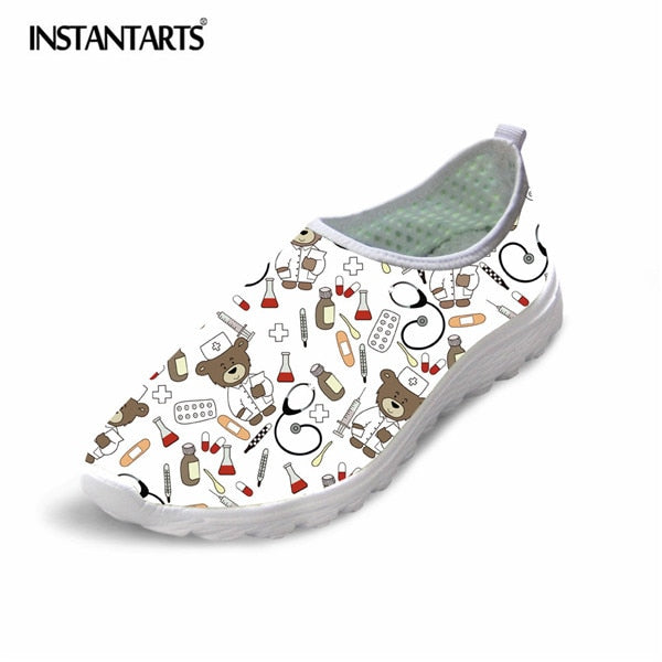 INSTANTARTS 2019 Spring Summer Funny Flats Women Shoes 3D Printed Sneakers Nurse Pattern Casual Mesh Light Shoe Zapator De Mujer