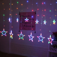 LED Light Garland Stars Hanging Curtain Lights String