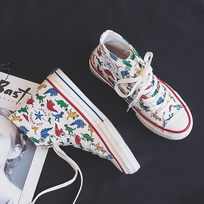 Girls Canvas Shoes Dinosaur High Up Sneakers Cartoon Cute Dino 2019 Autumn New Preppy Style Cool Fashion Women Casual Shoes