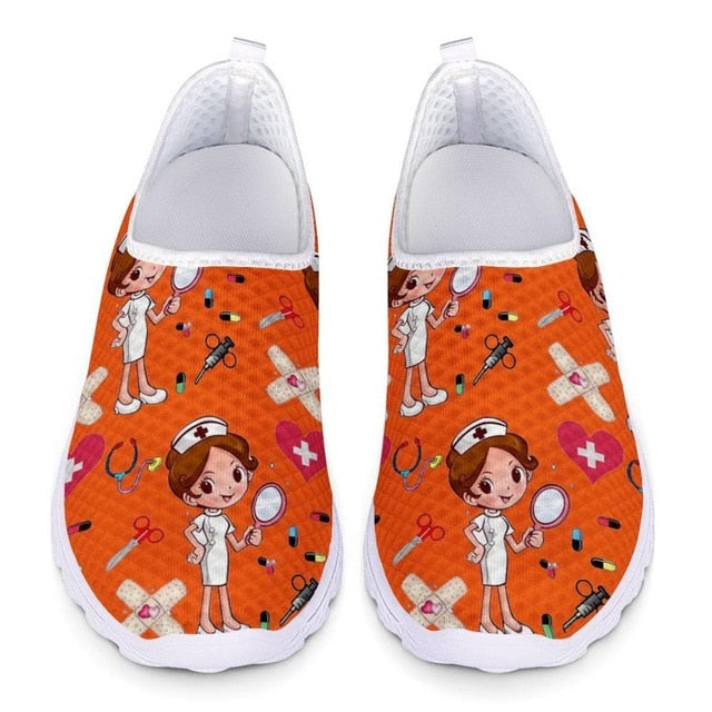 INSTANTARTS Nurse Shoes Flats Woman Nursing Sketch Print Summer Mesh Slip On Sneakers Women Breathable Ladies Footwear Zapatos