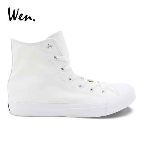 Wen Men Women Casual Shoes Black White Canvas Shoes Unisex Sneakers High Top Lace Up Footwear Vulcanized Shoes Flat Big Size 49