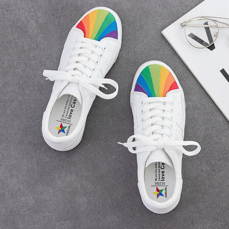 Shoes Women Rainbow Shell White Shoes Leather Sneakers Colorful Head 2019 Autumn New Fashion Cool Casual Shoes Round Head 35-40