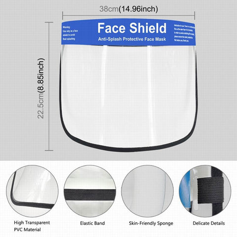 Transparent Protective Face Shield Mask Dust-Proof Oil-Proof Anti-Splash Anti-Droplets Anti-virus Face Protection Mask