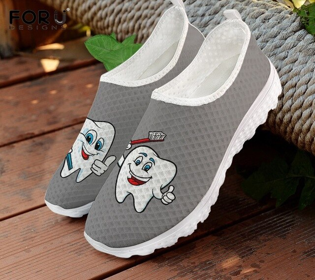INSTANTARTS Cute Cartoon Tooth Pattern Women Slip On Sneakers Dentist Mesh Ladies Shoes Light Casual Summer Beach Water Loafers